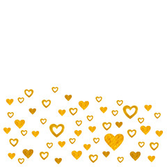 Heart Golden background. For Valentines day gold color watercolor hand paint isolated on white background. Detail 