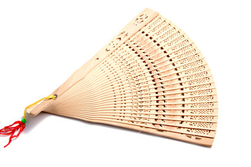 Wooden carve folding  chinese style hand fan on white background.