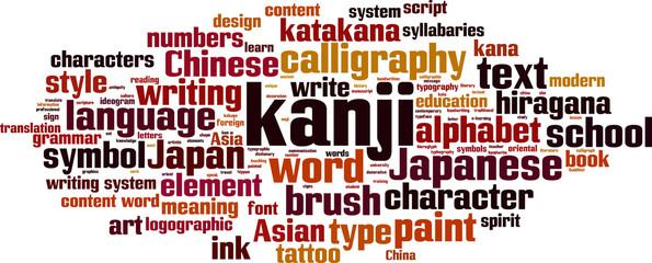Kanji word cloud concept. Vector illustration