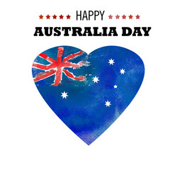 Happy Australia day poster. Heart with Australia  flag on a blue watercolor background.