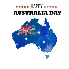 Happy Australia day poster. Map of Australia  on a blue watercolor background.