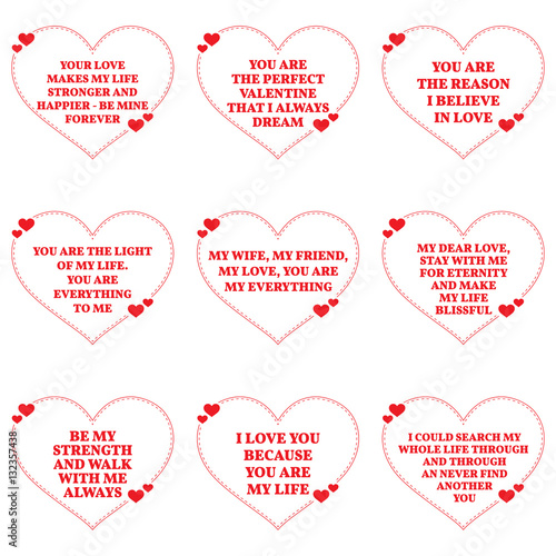Set Of Love Wishes Quotes Over White Background Simple Heart Sh