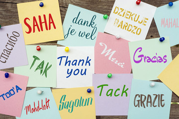 "January 11 - International Thank You day. Card with words ""Thank You"" on different languages or multilingual"