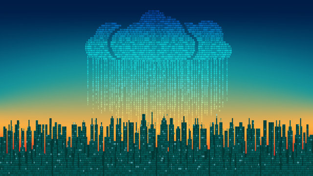 The city online. Abstract futuristic digital city, binary rain, cloud connected, high-tech background
