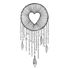 Vector dream catcher with heart shape illustration. Native American ancient symbol dreamcatcher, sketch in ink outlines