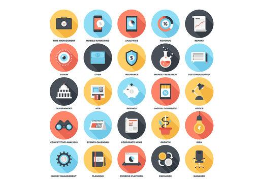 25 Circular Shadowed Business Icons