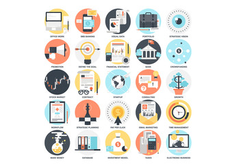 25 Detailed Circular Business Icons 1
