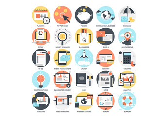 25 Detailed Circular Business Icons 2
