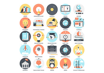 25 Detailed Circular Education and Learning Icons