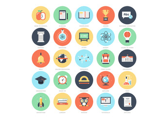 25 Flat Circular Education Icons