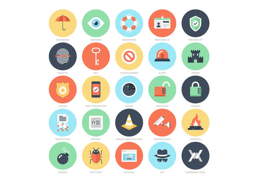 25 Flat Circular Online Security Icons