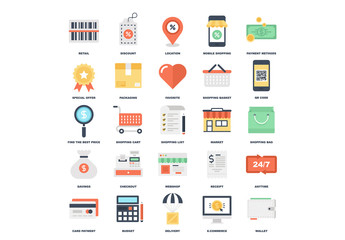 25 Flat Colorful Shopping Icons 3