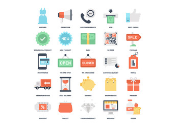 25 Flat Colorful Shopping Icons 4