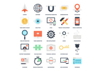 25 Flat Colorful Web Development Icons
