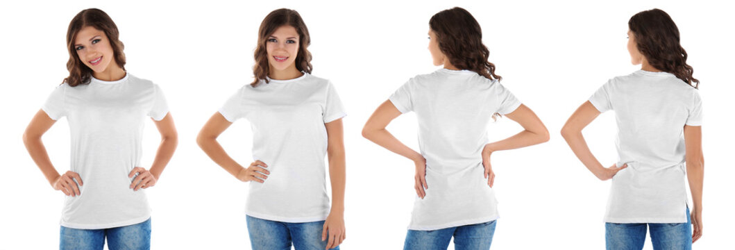 Different views of young woman wearing t-shirt on white background