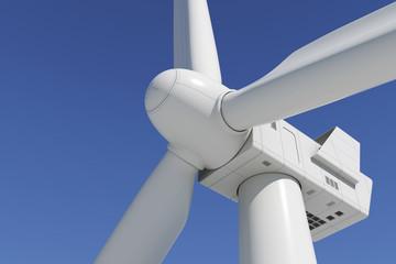 Industrial wind turbine on the sky background.
