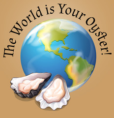 Poster of the world with oysters