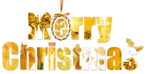 Christmas wishes made with images of other seasonal objects and decorations