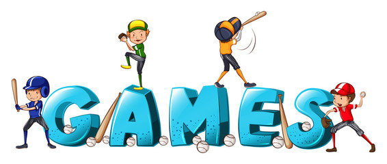 Font design for word games with people playing baseball