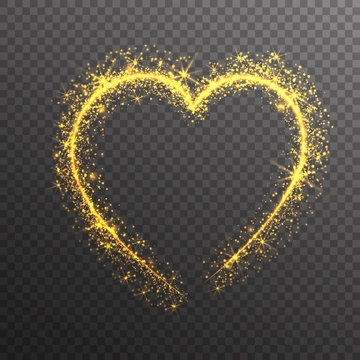 Magic Gold Glitter Stars Sparkles heart isolated on transparent background. Valentine's Day Symbol. Love and Feelings Design.Vector Illustration.