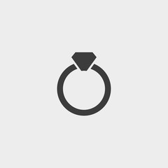 Ring icon in a flat design in black color. Vector illustration eps10