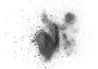 Pile gunpowder, black powder isolated on white background