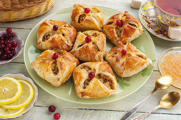 Baked open pies with filling