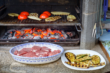 Grilling vegetables in barbecue