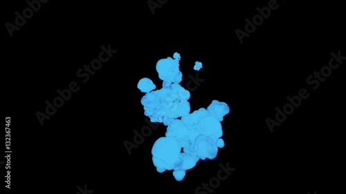 ABSTRACT BACKGROUND  BLUE SMOKE or BLUE INK IN WATER SERIES ON BLACK