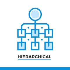Linear icon of hierarchical scheme. Pictogram in outline style. Vector modern flat design element for mobile application and web design.