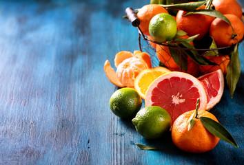 Mix of citrus fruits, vitamins concept, refreshment, healthy fru Wall mural