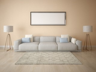 Mock up poster with a comfortable sofa on a beige background.