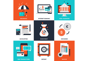 9 Four-Color Square Banking and Finance Icons