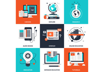 9 Four-Color Square E-Learning Icons