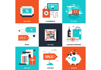 9 Four-Color Square Shopping Icons 2