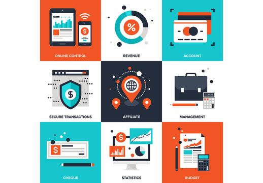 9 Four-Color Square Management Icons