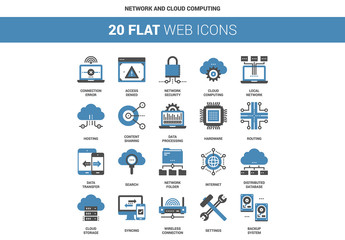 20 Flat Two-Color Data and Hardware Icons