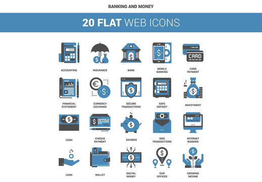 20 Flat Two-Color Banking Icons