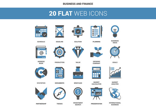 20 Flat Two-Color Business Icons
