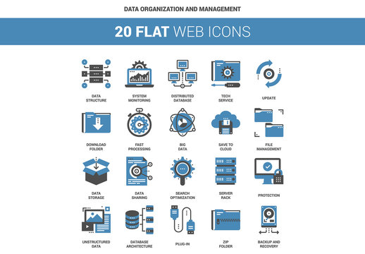 20 Flat Two-Color Data and IT Icons