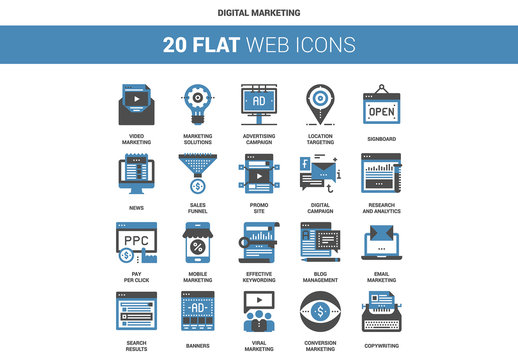 20 Flat Two-Color Digital Marketing Icons