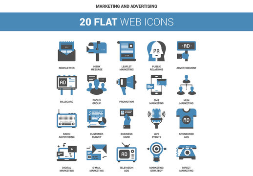 20 Flat Two-Color Marketing Icons