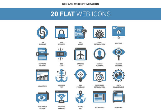 20 Flat Two-Color SEO Icons