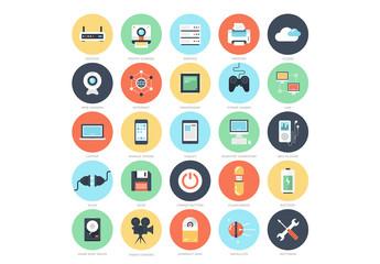 25 Flat Circular Media and Gaming Icons