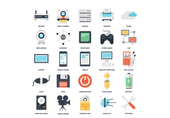 25 Flat Colorful Media and Gaming Icons