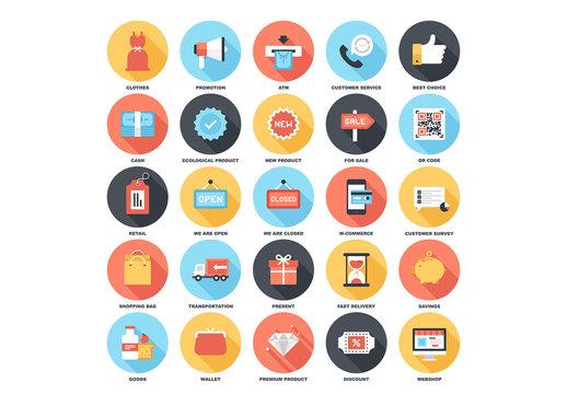 25 Circular Shadowed Shopping Icons 2