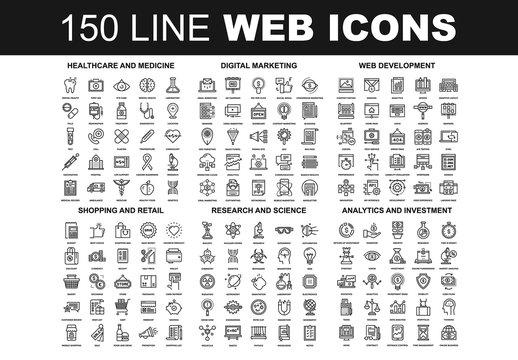 150 Line Art Web Icons 2
