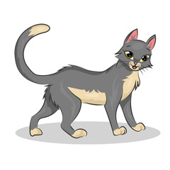 cute cartoon vector colorful cat at the white background