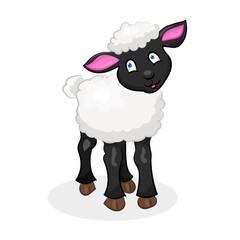 cute cartoon vector sheep lamb at the white background