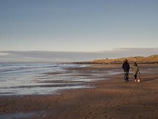 Couple walking a dog on a beach.